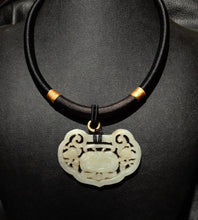 Load image into Gallery viewer, Jade Pendant Necklace, Carved Qing Dynasty Nephrite, Circa 1800s