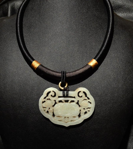Jade Pendant Necklace, Carved Qing Dynasty Nephrite, Circa 1800s
