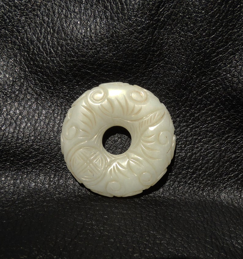 Hetian Jade Pendant, Carved Mutton Fat Nephrite, Qing Dynasty 1800s