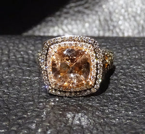 Chocolate Diamond Morganite Ring 14k Gold