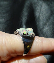 Load image into Gallery viewer, Featured Ethiopian Opal Ring, Natural White Zircons, 3.20ctw, Sterling Silver