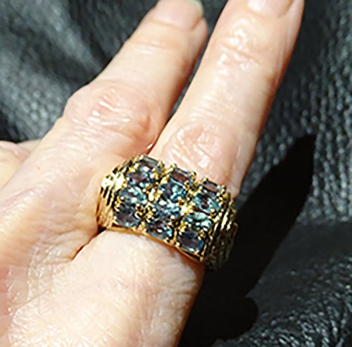 Featured Natural Alexandrite Gem Ring, 5+ Carats. 14K Gold, Art Deco Vintage
