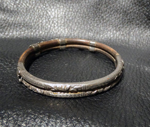 Antique Chinese Bangle, Silver and Rattan, Circa 1890