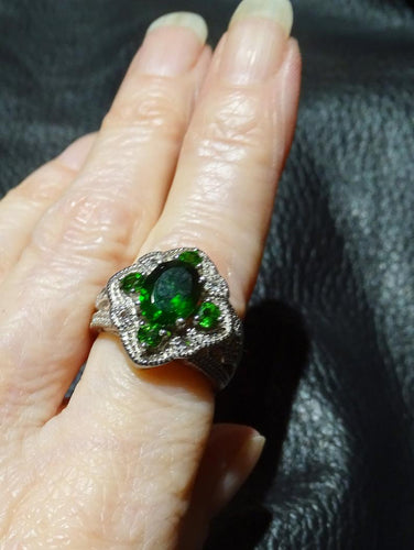 Siberian Emerald Ring Platinum Sterling Silver