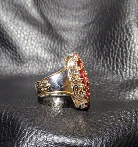 Featured Tourmaline Statement Ring, Palladium Sterling 18K Gold Setting,