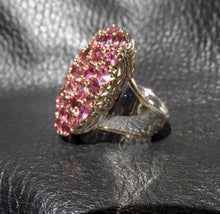 Load image into Gallery viewer, Featured Tourmaline Statement Ring, Palladium Sterling 18K Gold Setting,
