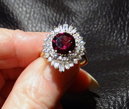 Featured Rhodolite Garnet Ring, 2.85ctw, Natural White Zircons, Yellow Gold
