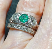 Load image into Gallery viewer, Wedding Ring Set, Diamond and Emerald, 14K White Gold