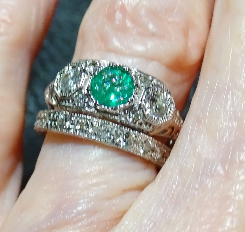 Wedding Ring Set, Diamond and Emerald, 14K White Gold