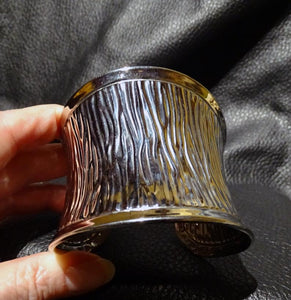 Designer Cuff Bracelet, Wide Stainless Steel, Fortuny Pleats Style