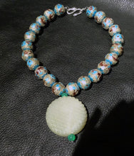 Load image into Gallery viewer, Jade Enamel Necklace, Hetian Nephrite, Chinese Export