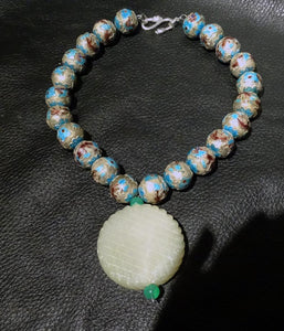 Jade Enamel Necklace, Hetian Nephrite, Chinese Export