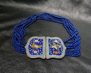 Lapis Bead Necklace, Enamel Clasp OOAK