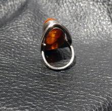 Load image into Gallery viewer, Baltic Amber Ring, Signed Sterling Vintage