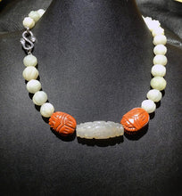 Load image into Gallery viewer, Jade Necklace, Carved White Nephrite
