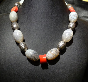 Agate Coral Necklace, One of a Kind