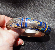 Load image into Gallery viewer, Antique Chinese Bangle, Sterling Silver, Enamel, Qing Dynasty 1800s