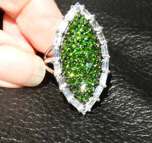 Siberian Emerald Ring, 5.97 ctw, Chrome Diopside, White Topaz, Sterling Silver, Statement Ring