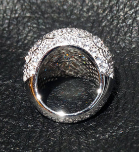 Dome Ring, 14 Grams Sterling Silver, Cubic Zirconia, Wedding, Anniversary, Cocktail