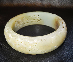 Antique Jade Bangle Carved Nephrite Qing Dynasty 1800s