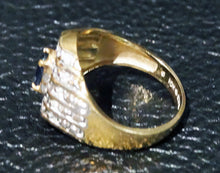 Load image into Gallery viewer, Sapphire Diamond Ring Unisex 10K Gold Size 10 Vintage