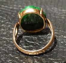 Load image into Gallery viewer, Carved Jadeite Ring, 14K Gold, Natural Color No Dye, Vintage