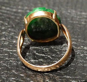 Carved Jadeite Ring, 14K Gold, Natural Color No Dye, Vintage