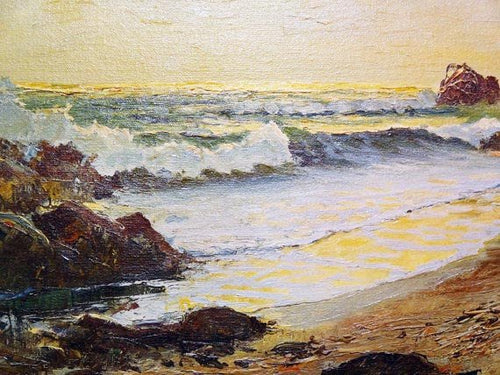 Robert Wood Seascape Painting Oil on Canvas Mid-20th Century Laguna Beach Period