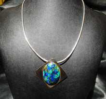Load image into Gallery viewer, Modernist Necklace/Brooch, Azurite Sterling Silver, Omega Chain, Vintage Circa 1960s