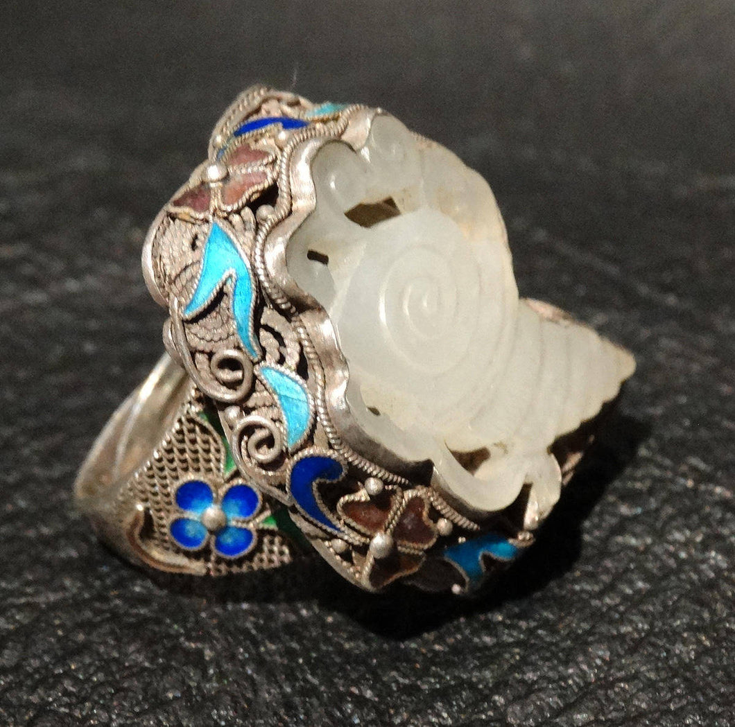 RARE White Jade Ring, Mutton Fat Nephrite, Adjustable Enameled Silver, Circa 1870