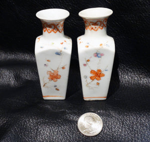 Miniature Chinese Vases, Handpainted Porcelain Pair, Vintage 1900