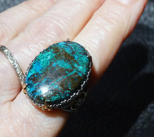 Vintage Chrysocolla Ring, Sterling Silver 18K Gold