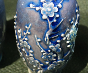 Miniature Chinese Vases, Pair RARE 18th Century Porcelain, Powder Blue Glaze