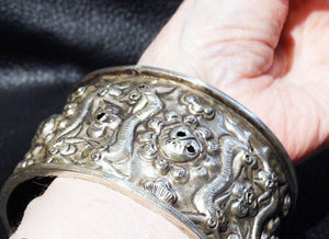 Wide Silver Cuff Bracelet, Balinese, Vintage, Ornate Repousse