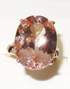 Featured 16.5 Carat Morganite 14K Ring, Rose Gold,  Diamonds Spectacular Engagement