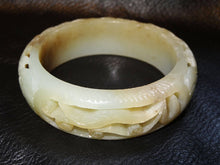 Load image into Gallery viewer, Antique Jade Bangle Carved Nephrite Qing Dynasty 1800s