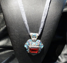 Load image into Gallery viewer, Cloisonne Pendant Necklace Enamel Statement OOAK