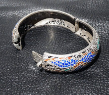 Load image into Gallery viewer, Chinese Enamel Bracelet, Champlevé Sterling Silver, Vintage 1920s
