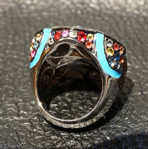Sapphire Ring 4 Cts Multicolor,  Effy, Enameled Sterling Silver, 20.4 Grams