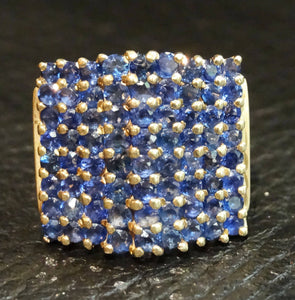 Sapphire Pyramid Ring, Cornflower Blue Ceylon Sapphires, 14K Yellow Gold, Estate,