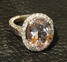 Load image into Gallery viewer, Featured GIA 12 Carat Morganite Diamond Ring, 14K White Gold,  Estate, Engagement