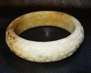 Carved Jade Bangle, Hetian Nephrite, Cloud Pattern, Qing Dynasty 1800s