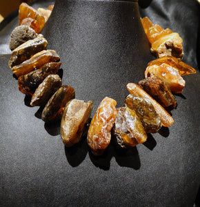 Baltic Amber Necklace, Raw Amber Statement Collar, 144 Grams