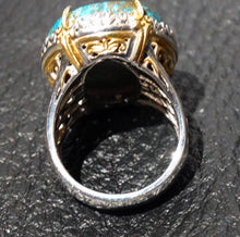 Load image into Gallery viewer, Vintage Chrysocolla Ring, Sterling Silver 18K Gold