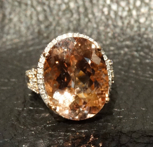 14K Morganite Diamond Ring 13.45 Carats 14K Rose Gold Engagement