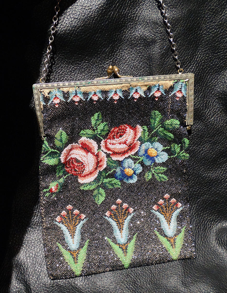 Beaded Estate Bag Circa 1900 Multicolor