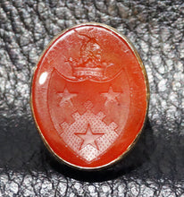 Load image into Gallery viewer, Antique Seal Ring Carnelian 14K  18th Century Armorial Intaglio Signet