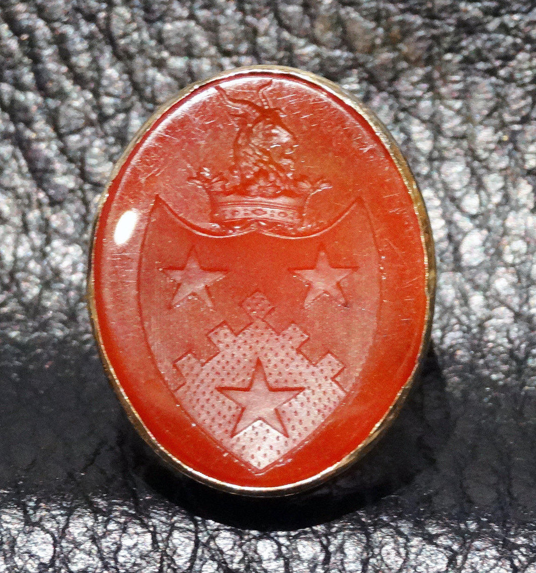 Antique Seal Ring Carnelian 14K  18th Century Armorial Intaglio Signet