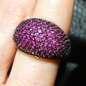 Pink Sapphire Ring, Natural Intense Color, Sterling Silver