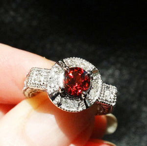 Garnet Diamond 10K White Gold, Art Deco Style, Vintage